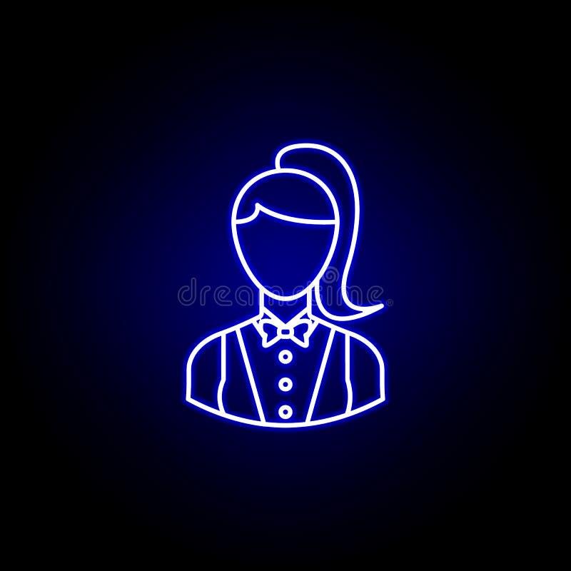 具体化副主持人在蓝色霓虹样式的概述象 标志和标志可以为网商标流动应用程序UI UX使用 向量例证