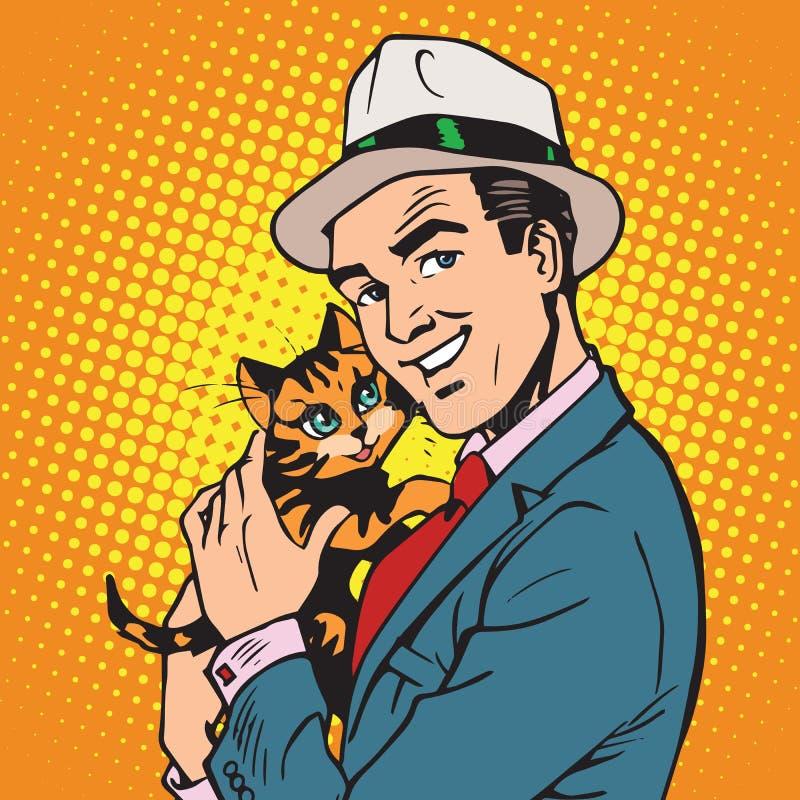 具体化有小猫的画象人 皇族释放例证