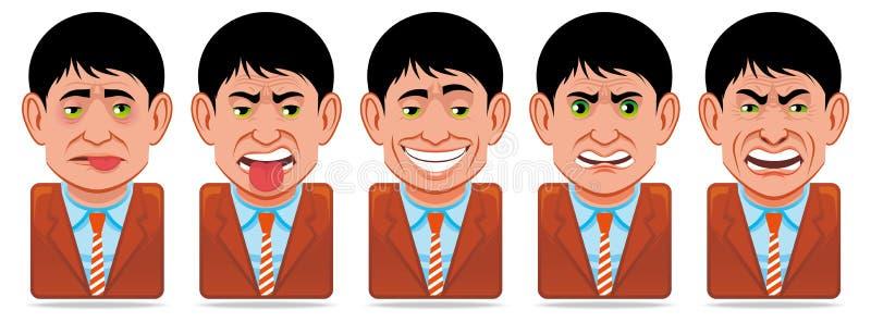 具体化表达式面部图标人员 向量例证