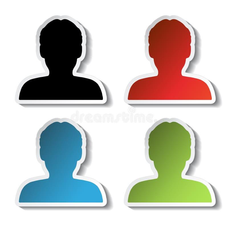 具体化象,贴纸-人,用户,成员 皇族释放例证