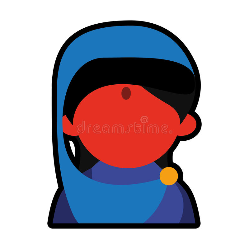 具体化面孔印地安妇女蓝色莎丽服 向量例证