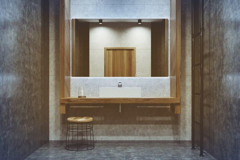 具体和木卫生间,双水池,被定调子 库存例证