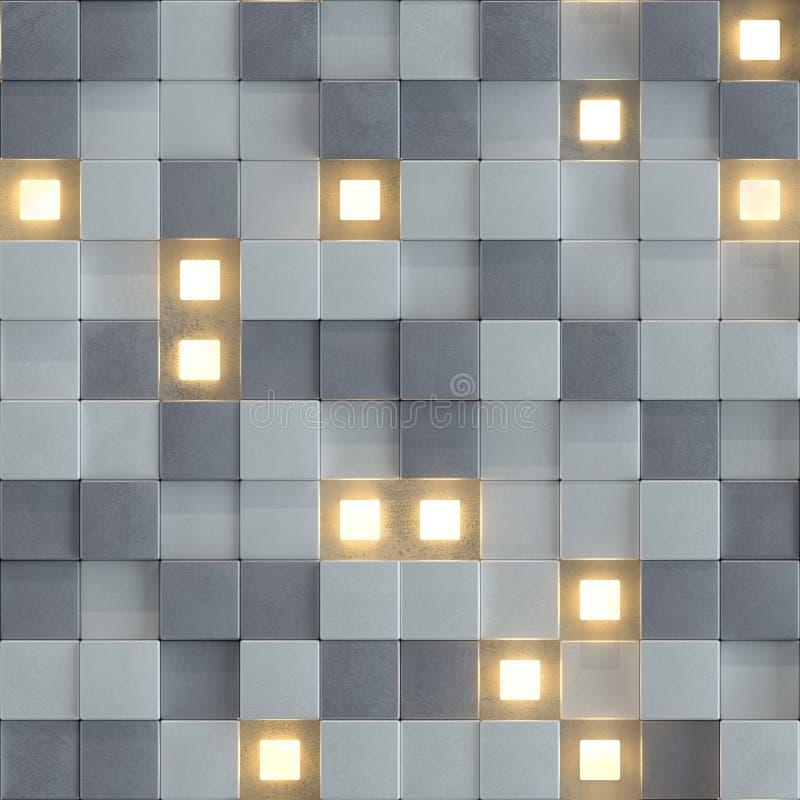 具体和照亮立方体3D的无缝的样式回报 库存例证
