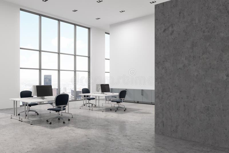 具体地板露天场所办公室角落,墙壁 皇族释放例证