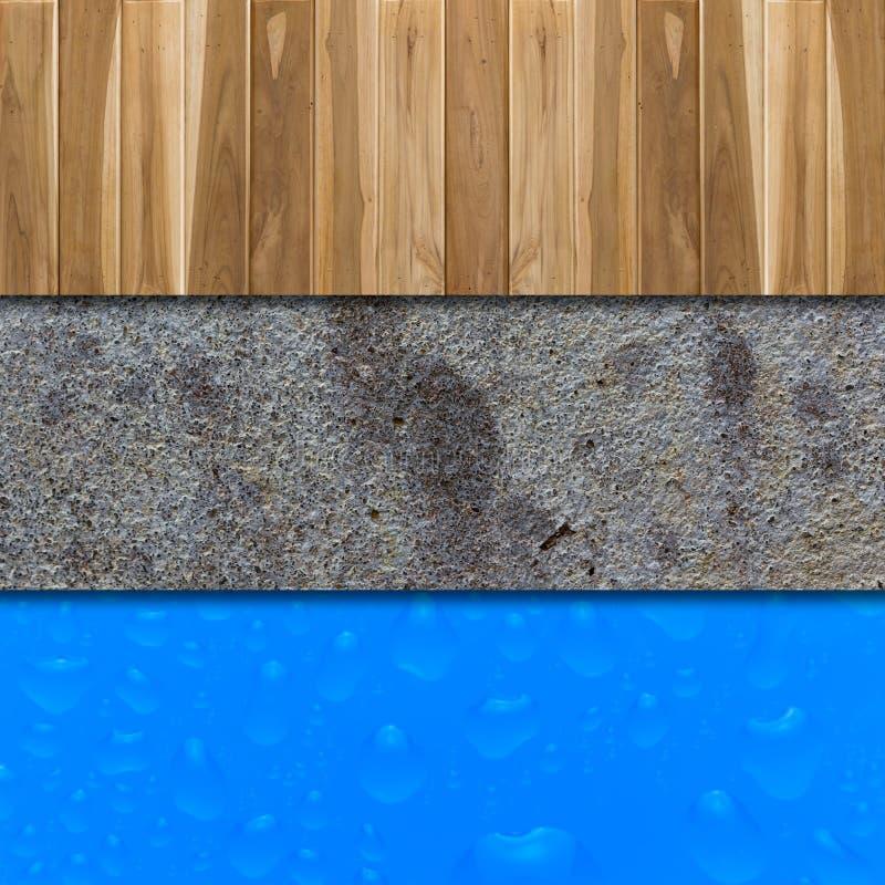 具体地板,白色和大海下落 库存图片