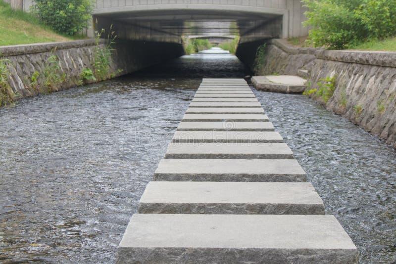 具体块走道或小径在几乎Sosei河札幌市的公园 免版税库存照片