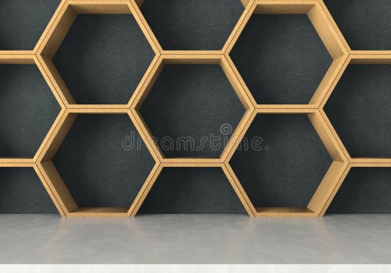 具体桌有木六角形架子背景, 3D翻译 皇族释放例证