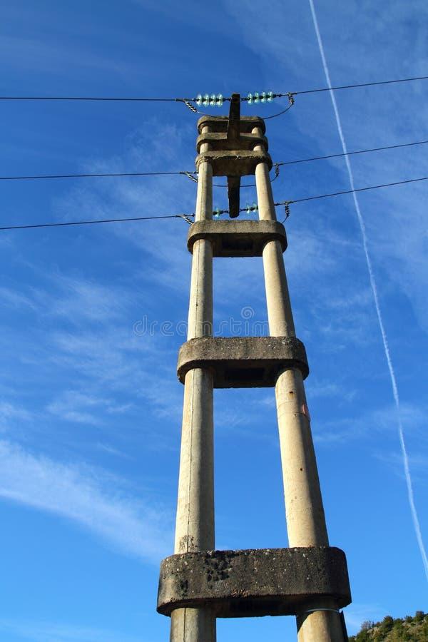 具体电杆减速火箭的塔 库存照片