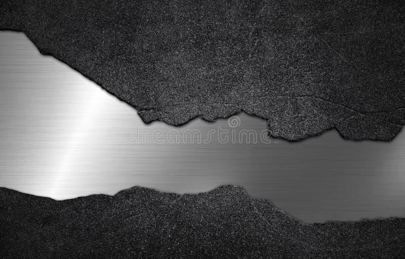 具体石头有银色金属纹理背景 库存图片