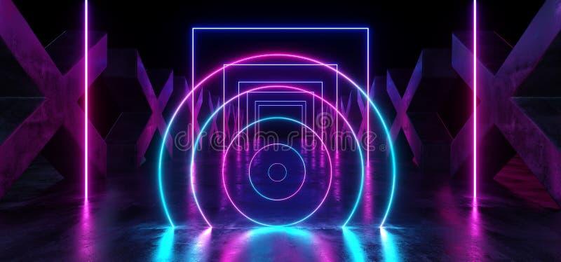 具体难看的东西专栏x被塑造的走廊隧道黑暗的霍尔反射性霓虹发光的科学幻想小说未来派现代道路紫色蓝色 向量例证