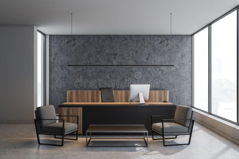具体CEO办公室内部与灰色扶手椅子 向量例证