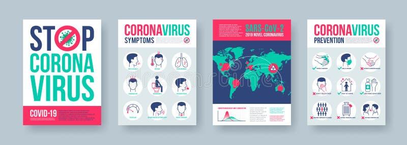 具有信息图形元件的冠状病毒海报集 新冠状病毒2019-nCoV横幅 危险的Covid-19大流行病概念