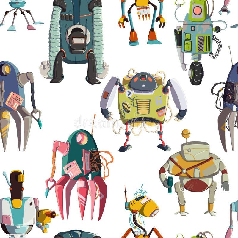 具有卡通机器人角色集的无缝图案 技术,未来 人工智能设计概念 与白色隔离 皇族释放例证