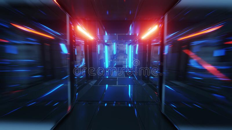 Realistic futuristic glass tunnel corridor with glowing lights and brick texture 3d illustration wallpaper background 皇族释放例证