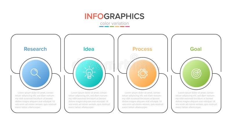 具有图标和4个选项或步骤的信息图形设计 细线向量 信息图形学业务概念 可用于 向量例证