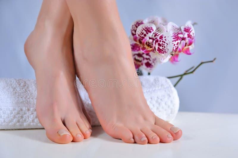 具有天然色彩钉蒂和紫色兰花花装饰的女足 免版税图库摄影