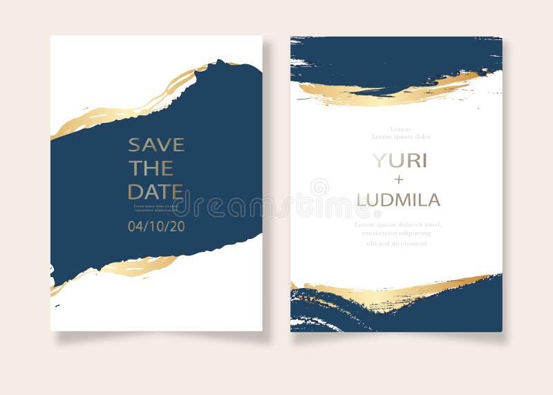 具有奢华金色和深蓝色大理石背景质感的婚礼邀请卡及抽象海风矢量模板 皇族释放例证