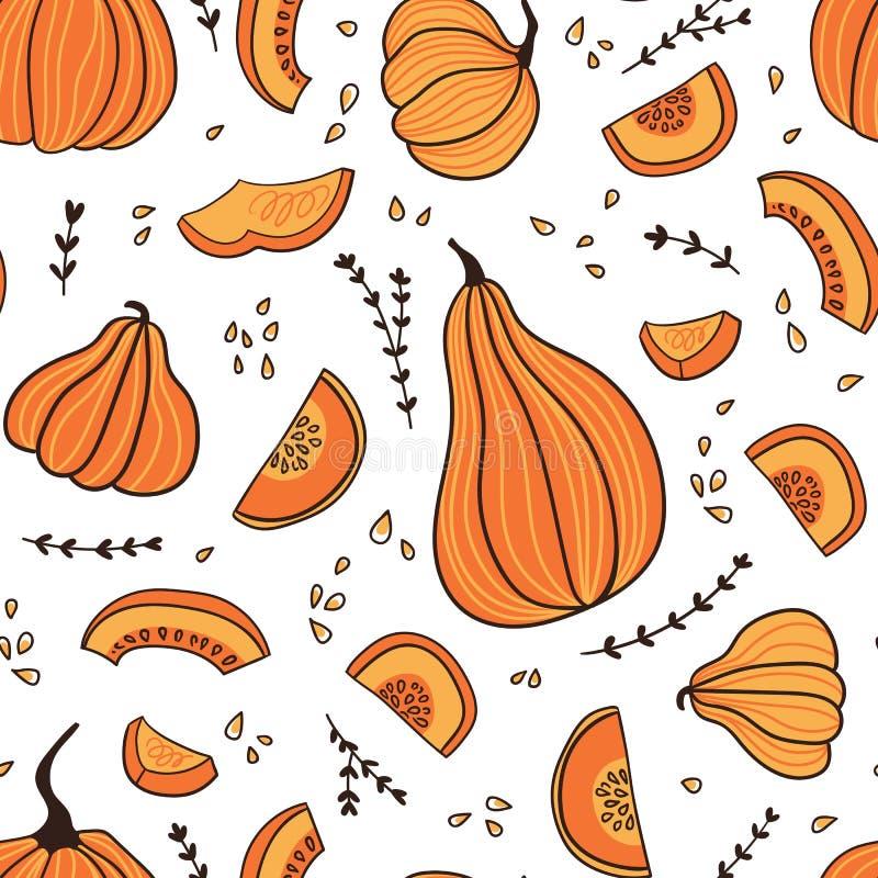 具有手绘的无缝图案 万圣节或感恩节手绘设计 植物病 皇族释放例证
