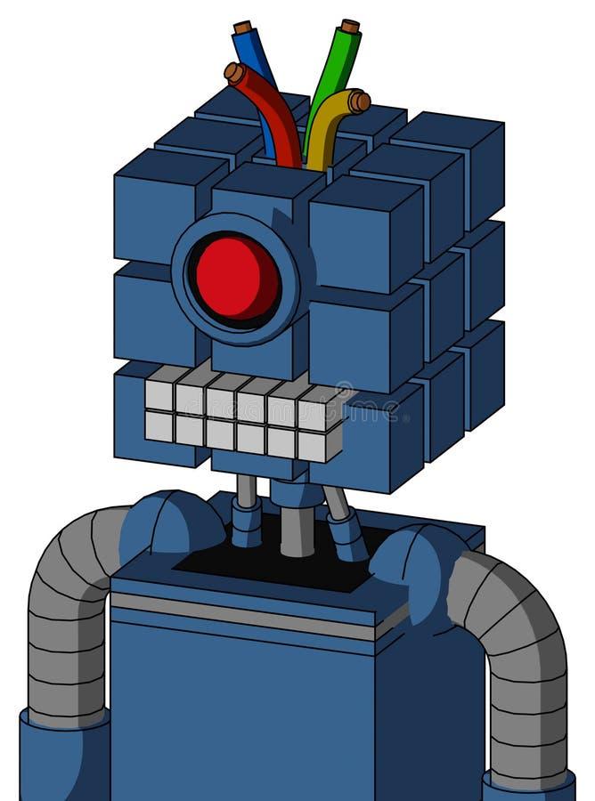 具有方头、键盘嘴、圆眼和线发的蓝色机器人 皇族释放例证