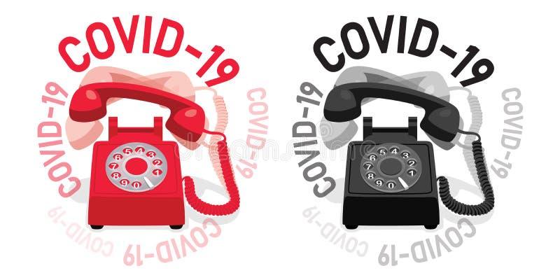 具有旋转拨盘和COVID-19的振铃固定电话 库存例证