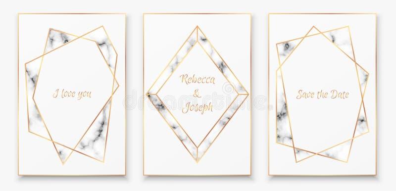 具有时尚大理石纹理的金多边形水晶框的海报收藏 库存例证