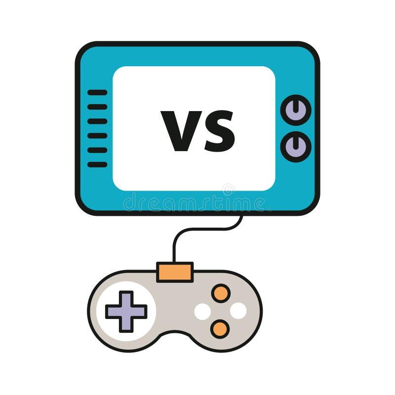 具有显示手柄图标的视频游戏控制 免版税库存图片
