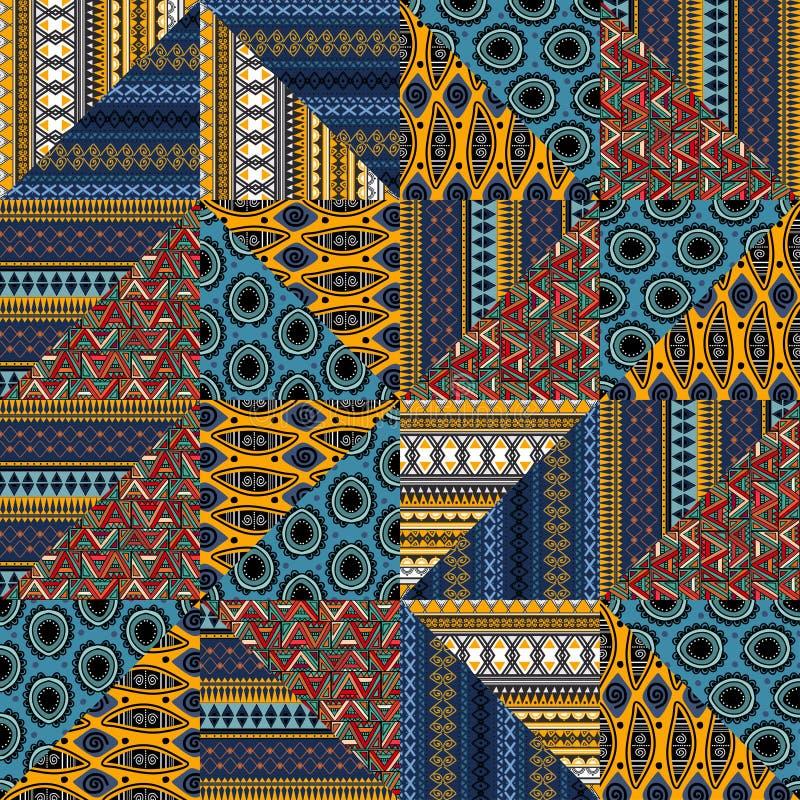 具有民族画组合几何样式的部落无缝图案 向量例证