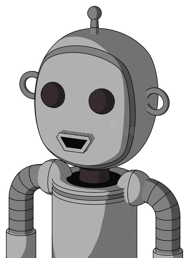 具有气泡头和快乐嘴的双眼单天线的白色自动机 皇族释放例证