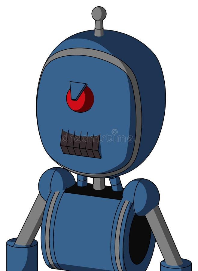 具有气泡头和暗牙口、愤怒的环和单天线的蓝色机器人 库存例证