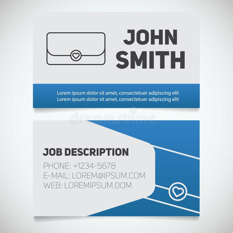 Business card print template with clutch logo 库存例证