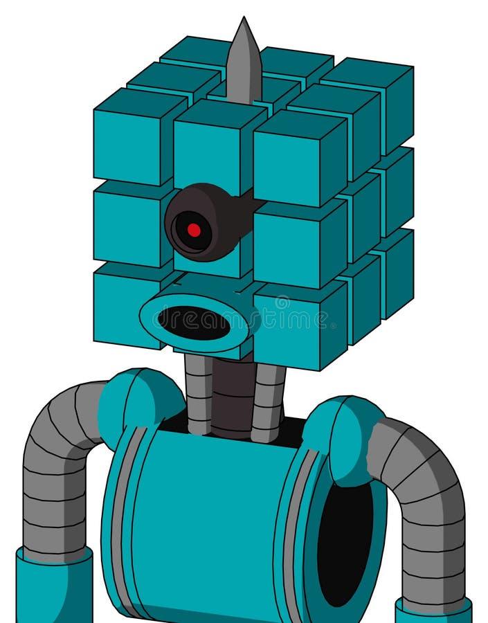 具有立方体头和圆形嘴以及黑色圆环眼和尖尖的蓝色机器人 库存例证