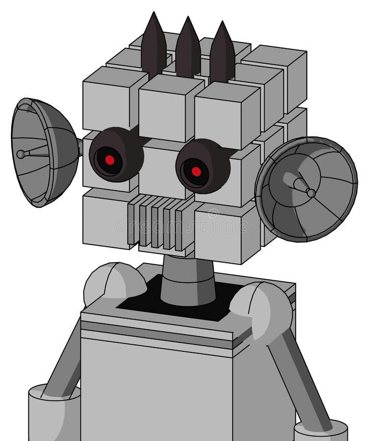 具有立方头和通风口、黑色发红眼睛和三个暗尖的白色自动机 皇族释放例证