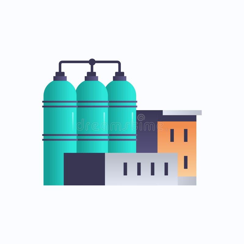 具有管道电站概念的炼油机械厂建筑图标工厂集装箱 库存例证