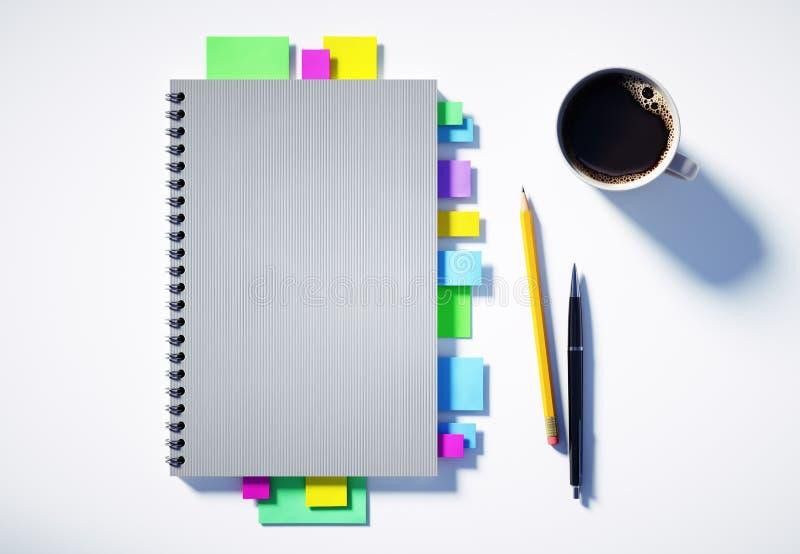 具有组织器和办公室辅助功能的白色桌面的顶视图 皇族释放例证