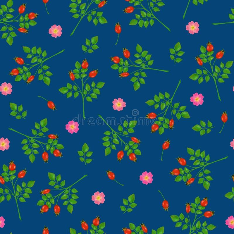 具有花朵、玫瑰花和树枝的无缝图案 库存例证