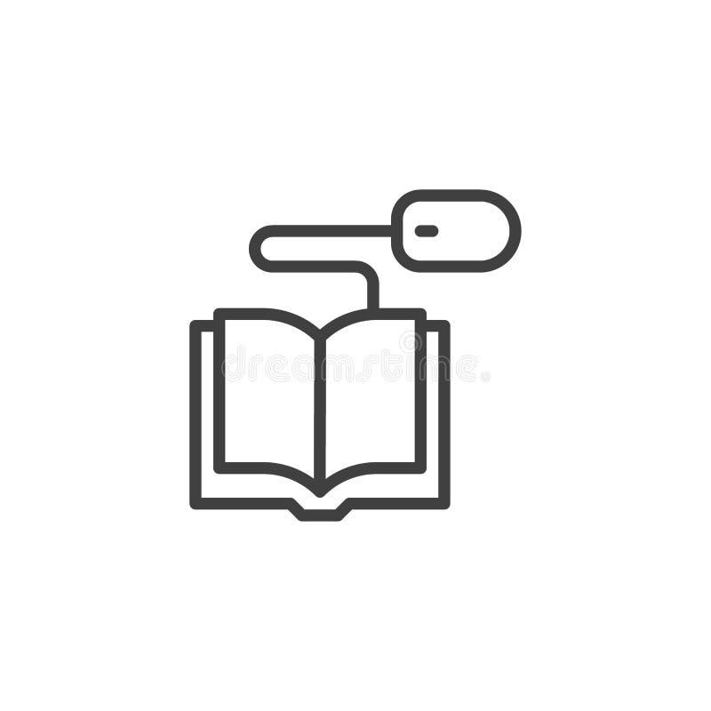 具有计算机鼠标线图标的书 向量例证