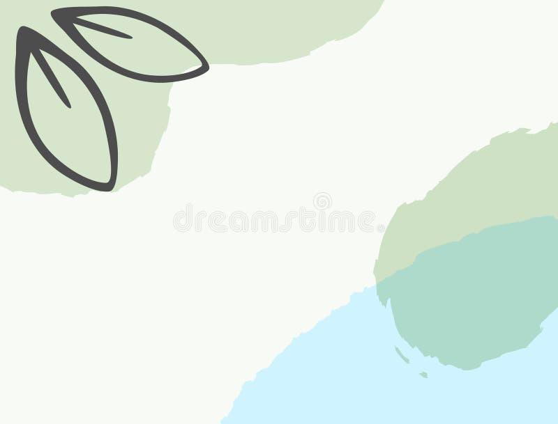 具有Leaf轮廓的水平抽象模板 矩形简体背景 草图,油漆,水彩 皇族释放例证
