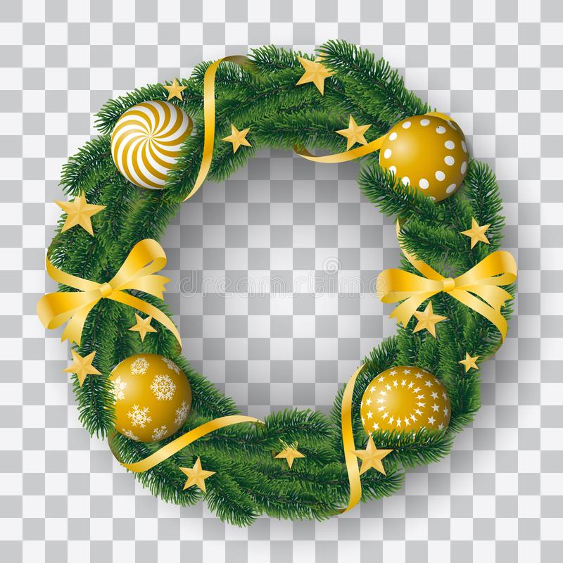 具球果在透明背景的花圈与金黄电灯泡和装饰用丝带和星美好的现实传染媒介  皇族释放例证