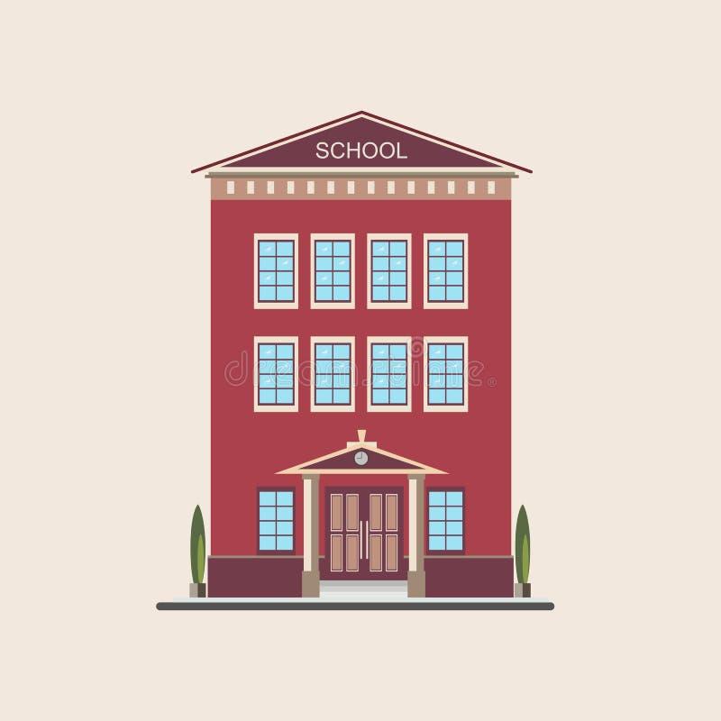 经典不高教学楼正面图 五颜六色的平的传染媒介例证 皇族释放例证