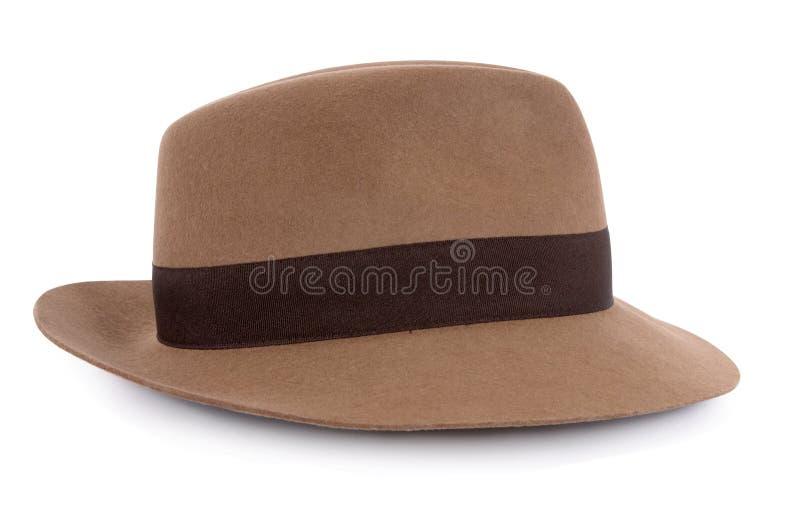 经典之作棕褐色毛毡浅顶软呢帽 免版税库存图片