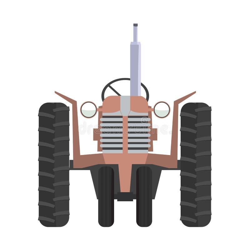 经典农业拖拉机象和正面图与平的颜色 向量例证