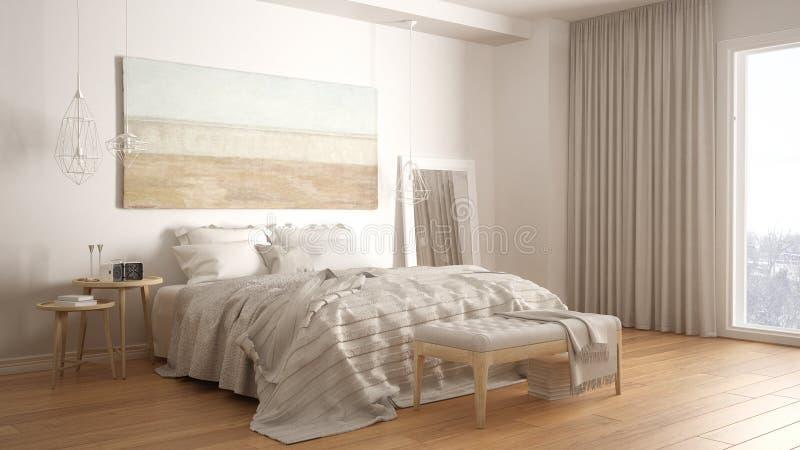 经典卧室,斯堪的纳维亚现代样式, minimalistic interio 向量例证