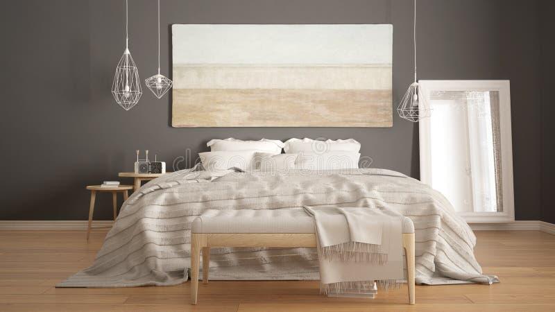经典卧室,斯堪的纳维亚现代样式, minimalistic interio 皇族释放例证