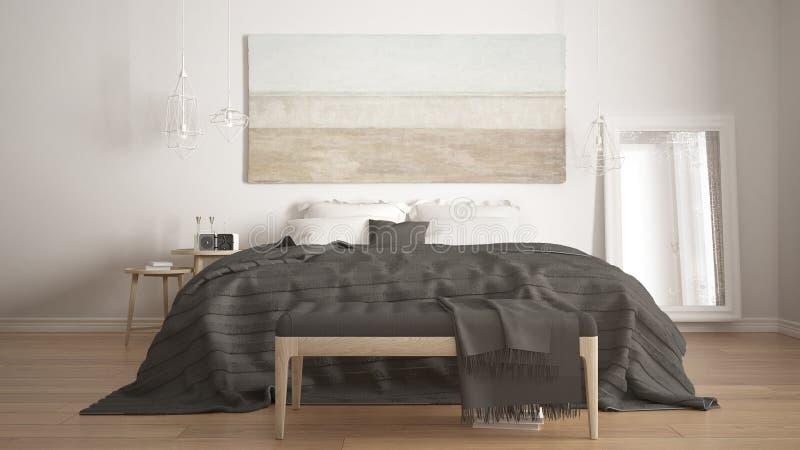经典卧室,斯堪的纳维亚现代样式, minimalistic interio 免版税图库摄影