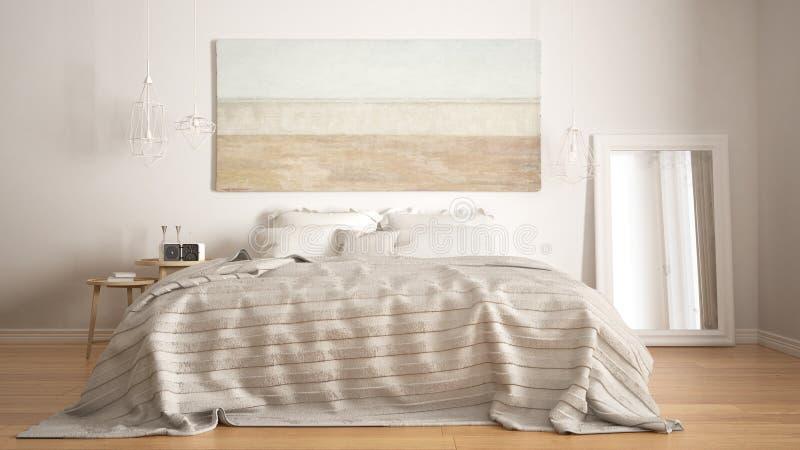 经典卧室,斯堪的纳维亚现代样式, minimalistic interio 库存照片