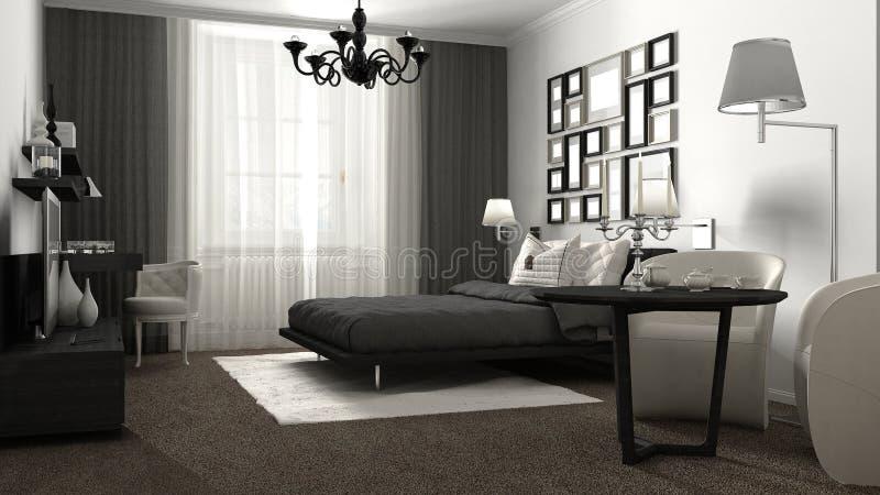 经典卧室,旅馆,手段 免版税库存图片