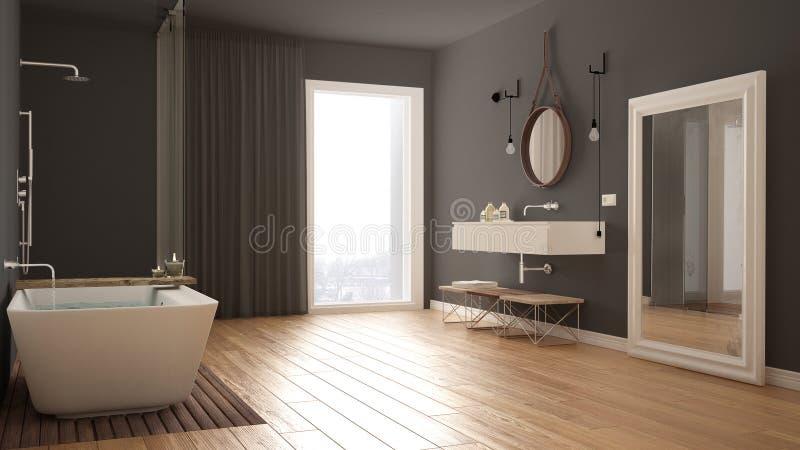 经典卫生间,现代minimalistic室内设计 图库摄影