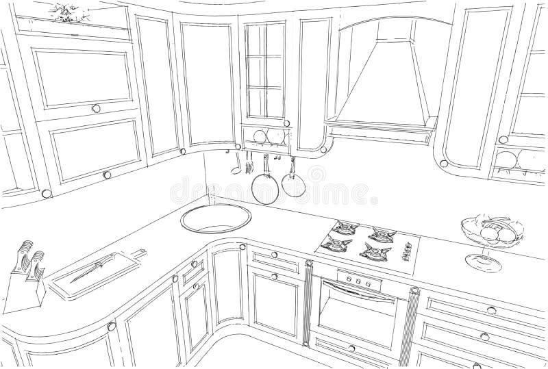 经典厨房内部3d略图 库存例证. 插画 包括有 概念图片