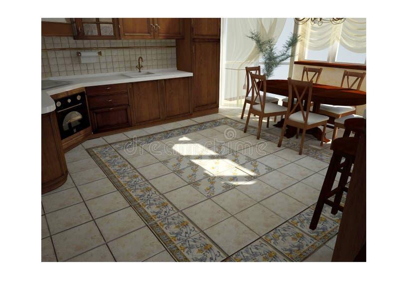经典厨房3d 免版税库存照片