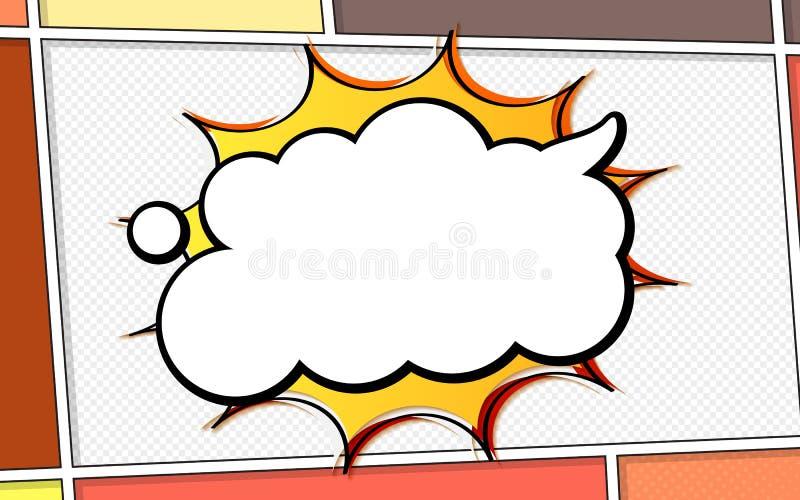 典型含语音气泡漫画页面矢量模型 流行艺术风格 彩色矢量图 亮色漫画 向量例证